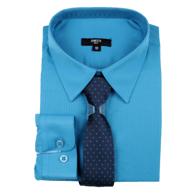 ERNESTO Youth Tween Boys Turquoise Long Sleeve Shirt with Matching Tie