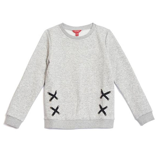 GUESS KIDSWEAR Big  Girl Lace Up Grey Sweatshirt