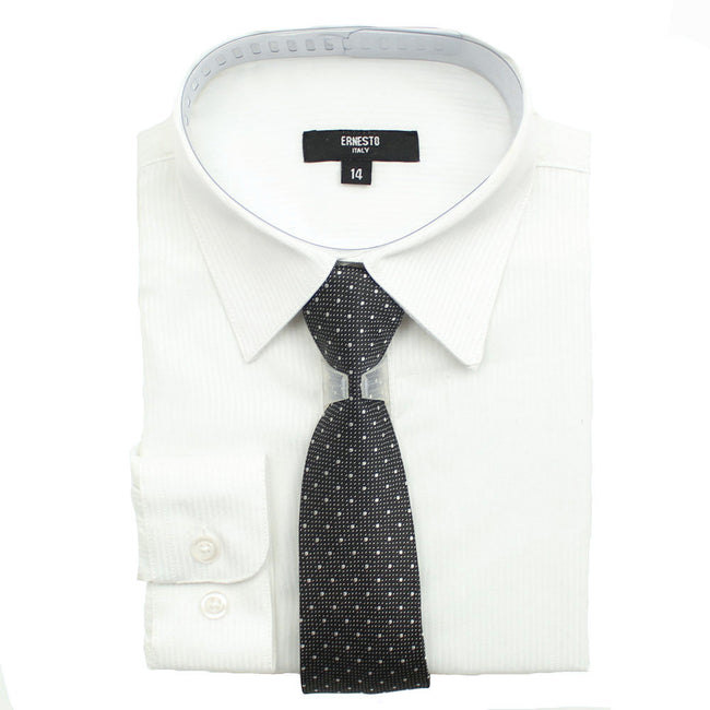 ERNESTO Youth Tween Boys White  Long Sleeve Dress Shirt with Matching Tie
