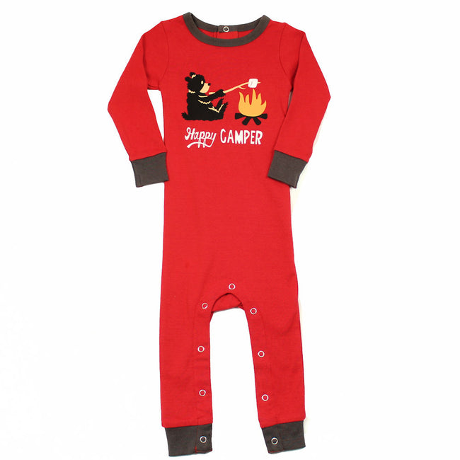 Lazy One Camping Bear Baby Boy Baby Girl Snap Onsie Union
