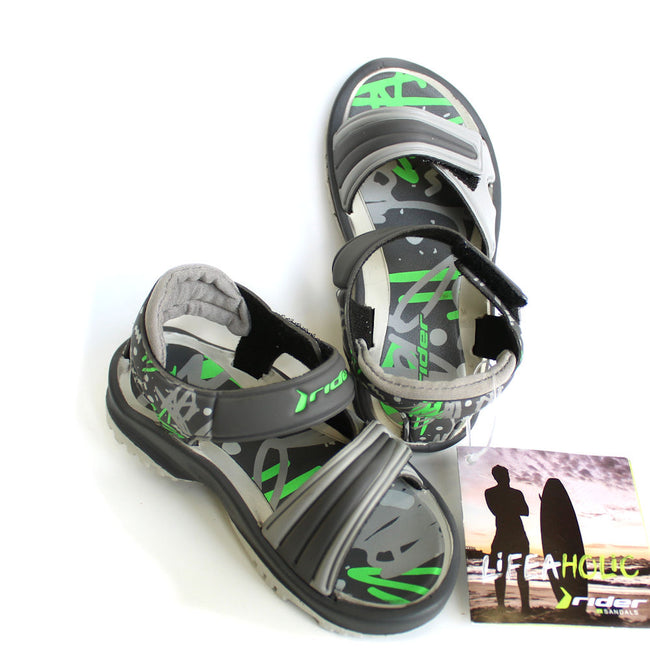 Rider Little Boy Velcro Sandals (Grey and Green)