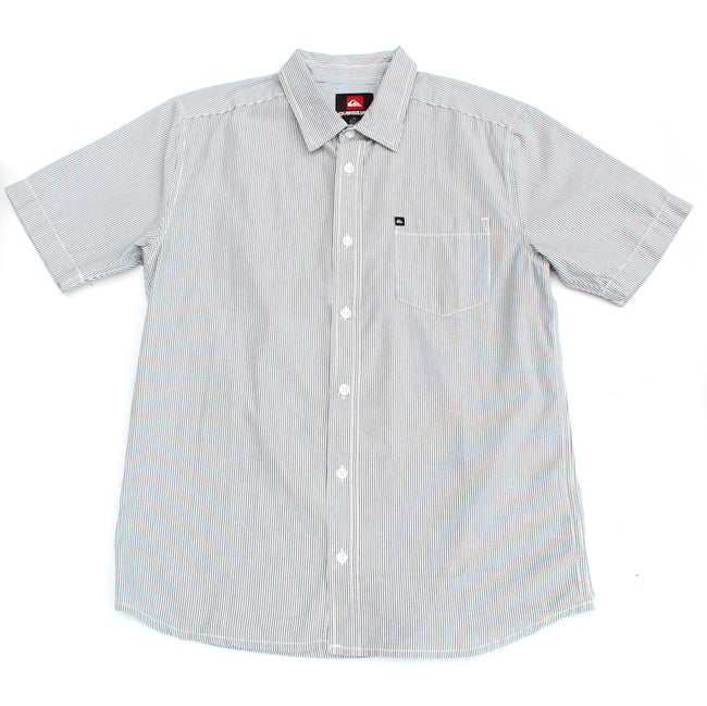 QUICKSILVER Big Boy White and Blue Vertical Pinstripe Short Sleeve Shirt
