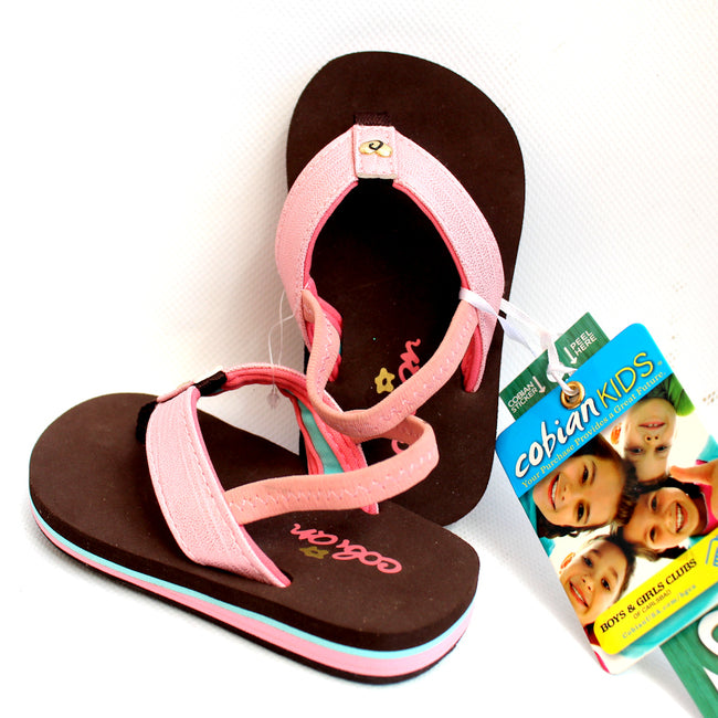 Cobian Kids Flip Flops Brown Pink