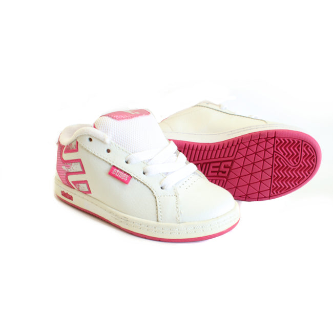 Etnies Girls White Pink Logo Shoes