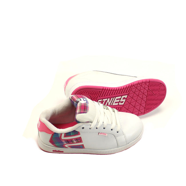 Etnies Girls Shoes White with Plaid Logo