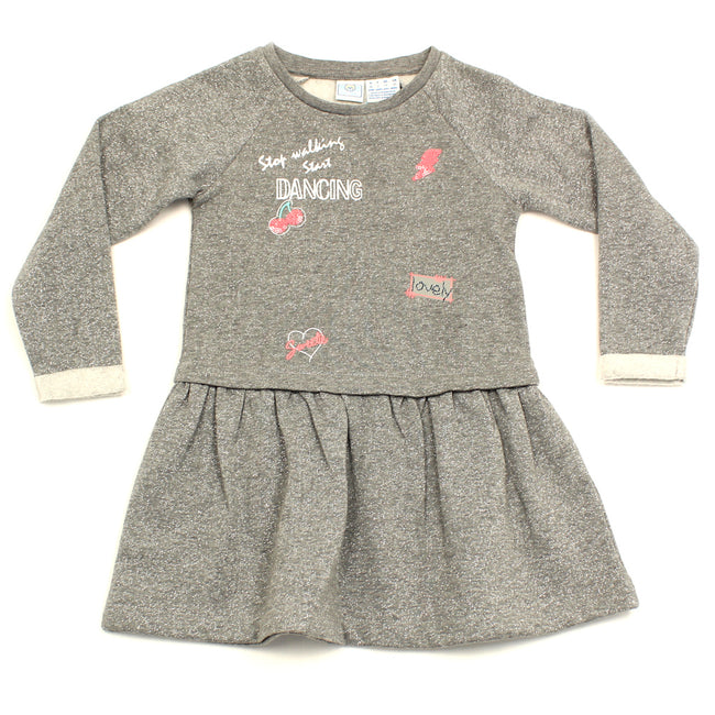 Little Girl Long Sleeve Metalic Dress