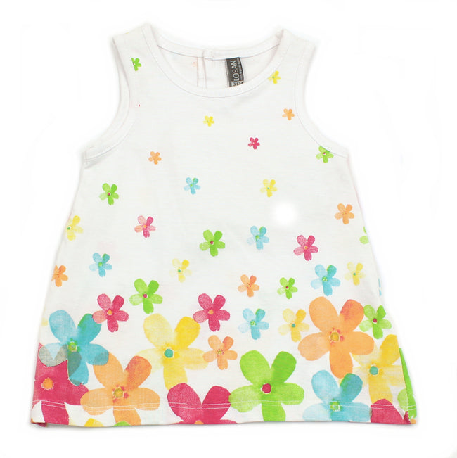 Losan Baby Girl Printed Flowers White Dress