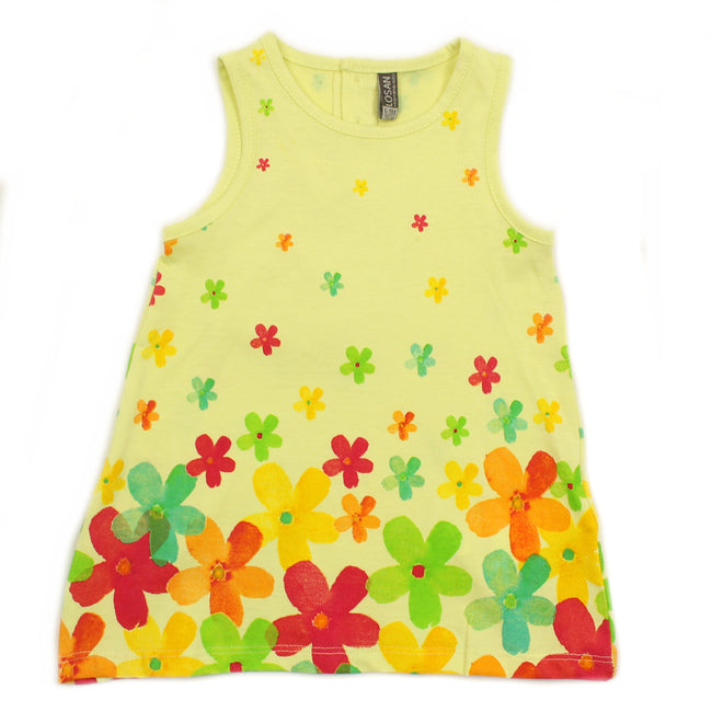 Losan Infant Girl Summer Printed Flowers Jersey Dress