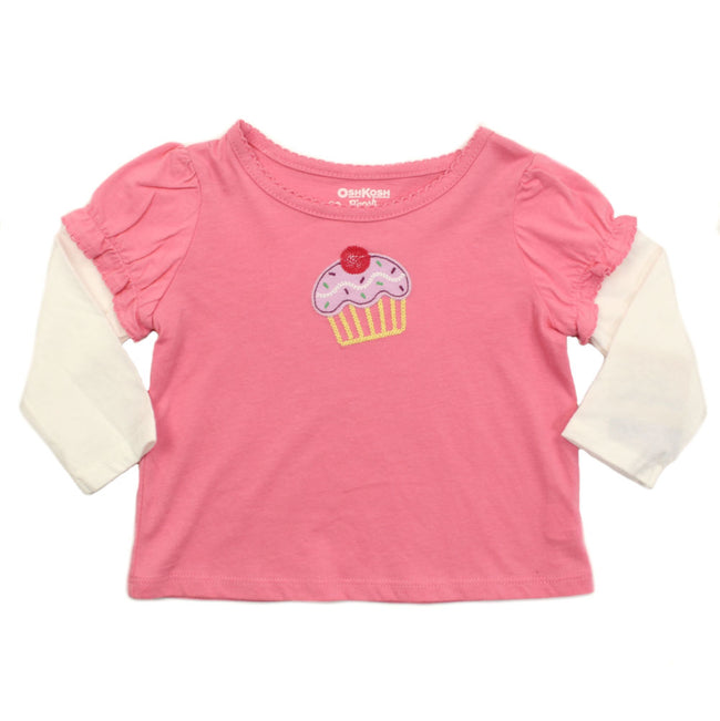Baby Girl Long Sleeve Pink Cupcake Tee Shirt