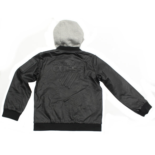 Guess KIDSWEAR Little Boys Faux Leather Bomber Jacket Back