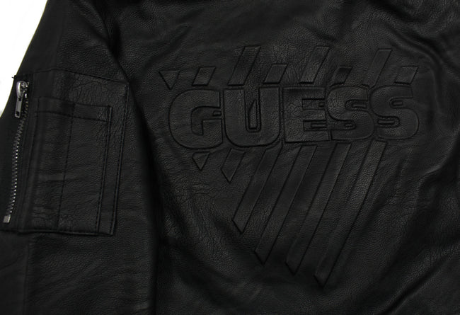 Guess KIDSWEAR Little Boys Faux Leather Bomber Jacket Logo