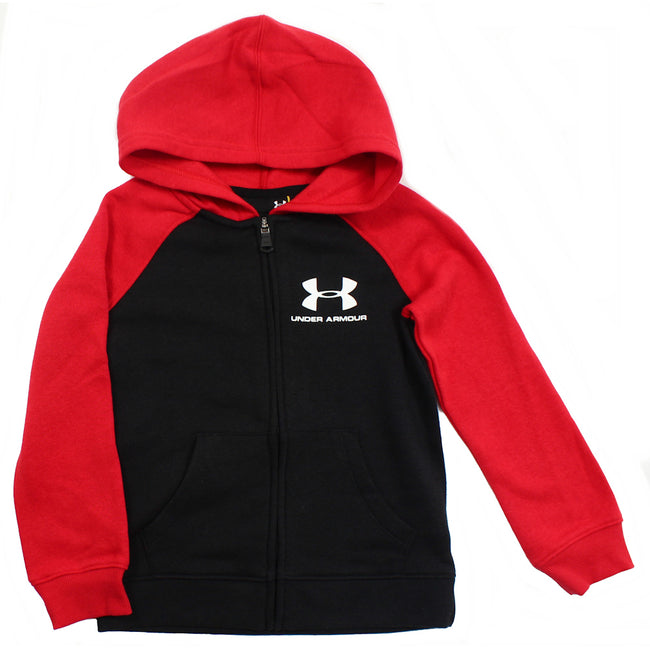 UNDER ARMOUR KIDS Rival Fleece Zippered Hoodie Red Black