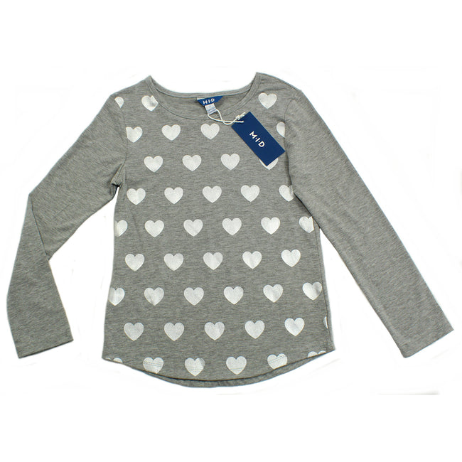 MID Big Girls Long Sleeve Grey Shirt with Hearts