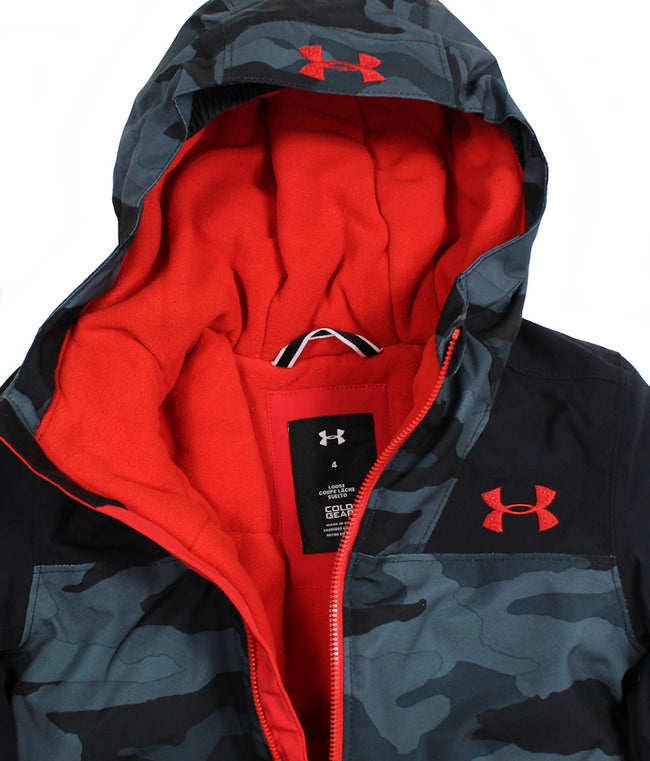 Under Armour Kids Little Boys Winter Jacket Coat Red Black Camo