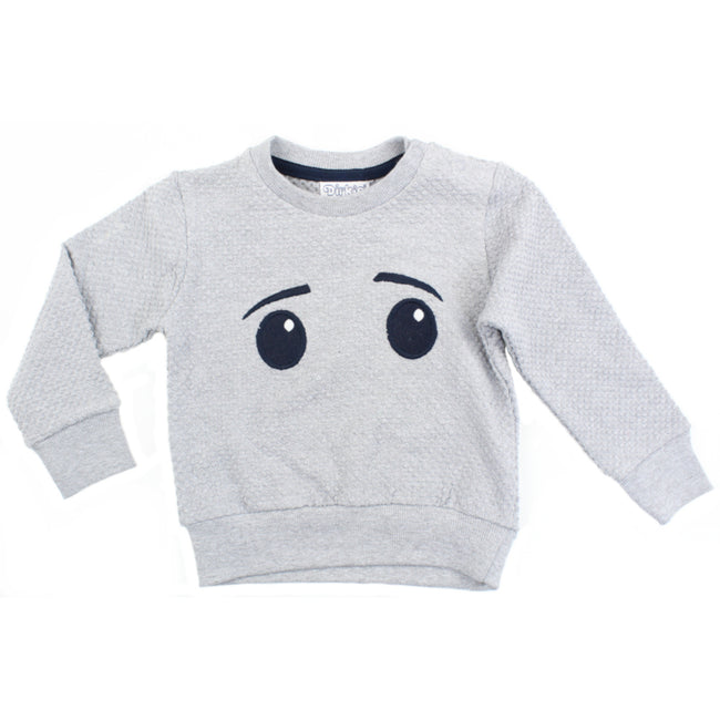 Dirkje Infant Baby Boy Girl Grey Pullover Embroidered Eyes