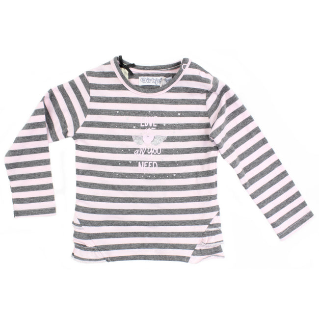 Dirkje Infant Baby Girl Long Sleeve Striped Pink Grey Tee