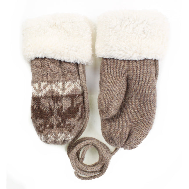Toddler Brown Corded Sherpa Mittens
