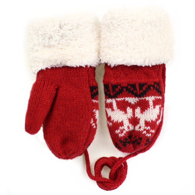 Toddler Red Corded Sherpa Mittens
