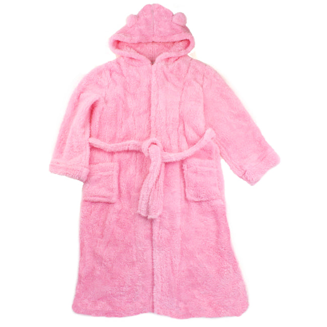 Tween Girls Pink Fluffy Hooded Housecoat