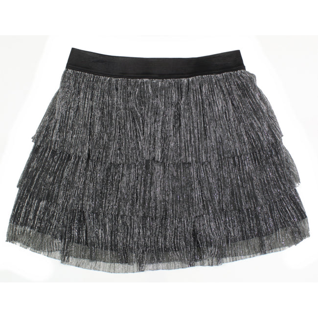 MID Little Girl Layered Silver Glitter Skirt
