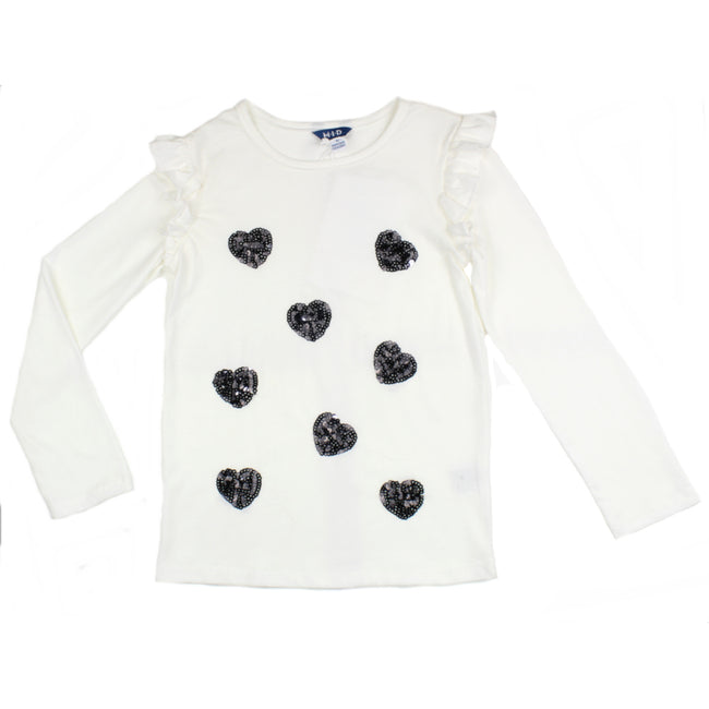 MID Little Girl Sequin Heart Long Sleeve Shirt