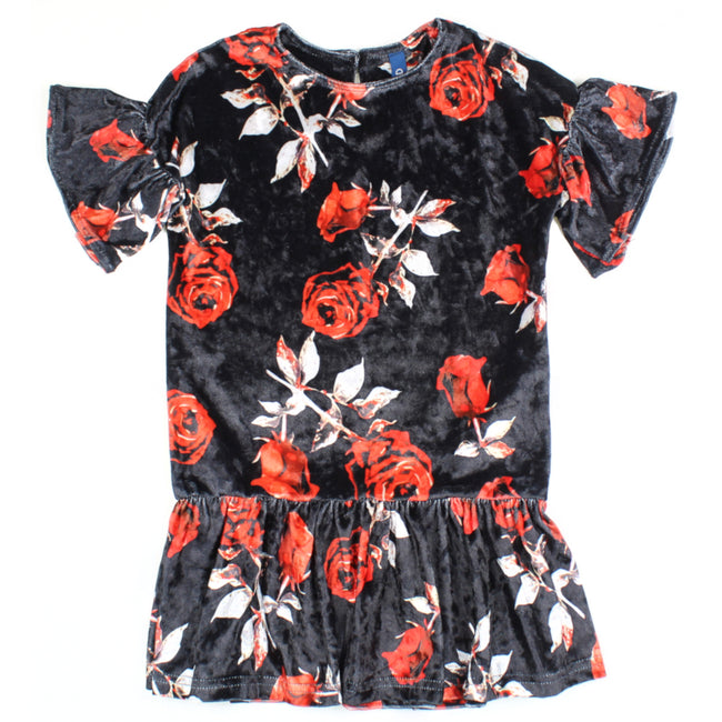 M-I-D Little Girl To Teen Short Sleeve Floral Velour Dress