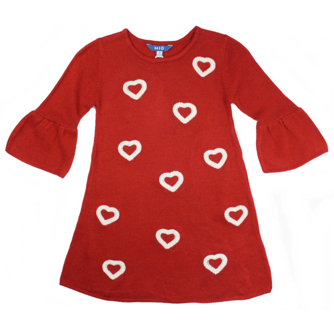 M.I.D. Little Girls Red Knitted Dress with Hearts