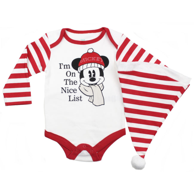 Disney Infant Santa Christmas Bodysuit with Hat