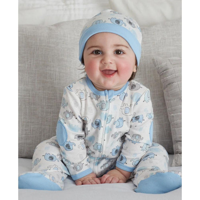 LITTLE ME Baby Boy Blue Elephant Zipper Footie with Hat