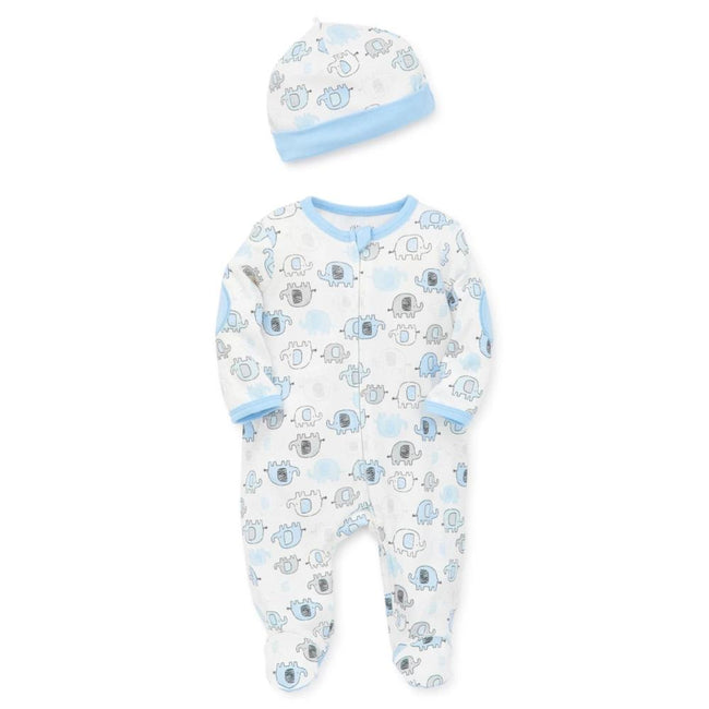 LITTLE ME Baby Boy Blue Elephant Footie with Hat