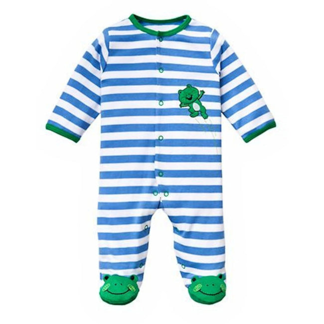 LITTLE ME Baby Boy Footed Blue Striped Frog Sleeper