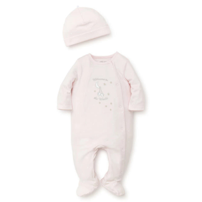 LITTLE ME Baby Girl Pink Welcome Footie with Hat
