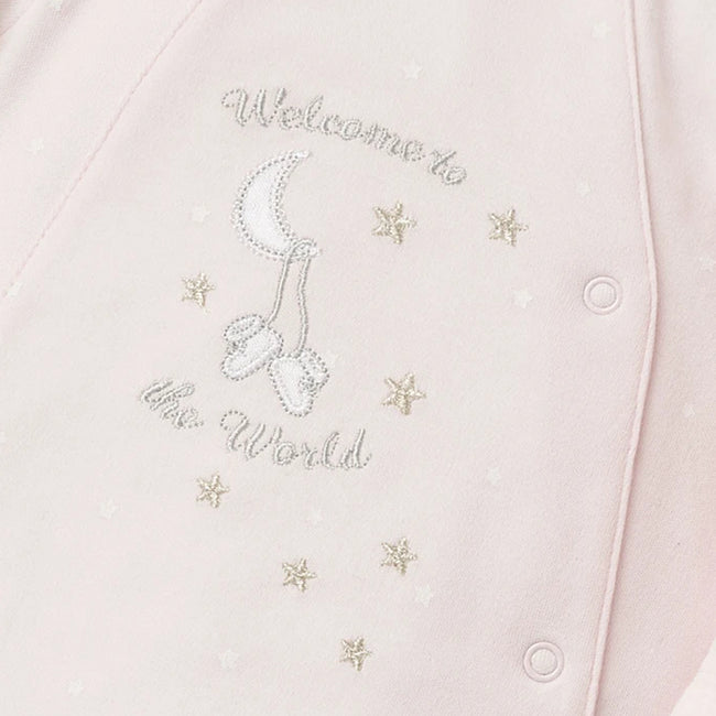 LITTLE ME Baby Girl Pink Welcome Footie with Hat Graphic