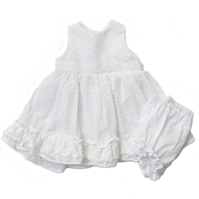 Pippa & Julie Baby Girl Raised Dots and Eyelet Lace Trim Sleeveless dress