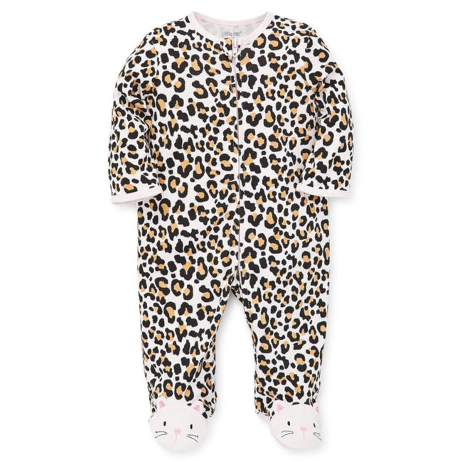 LITTLE ME Baby Girl Leopard Print Footie