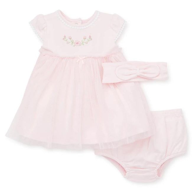 LITTLE ME Baby Girl Pink Tulle Dress with Headband and Bloomers