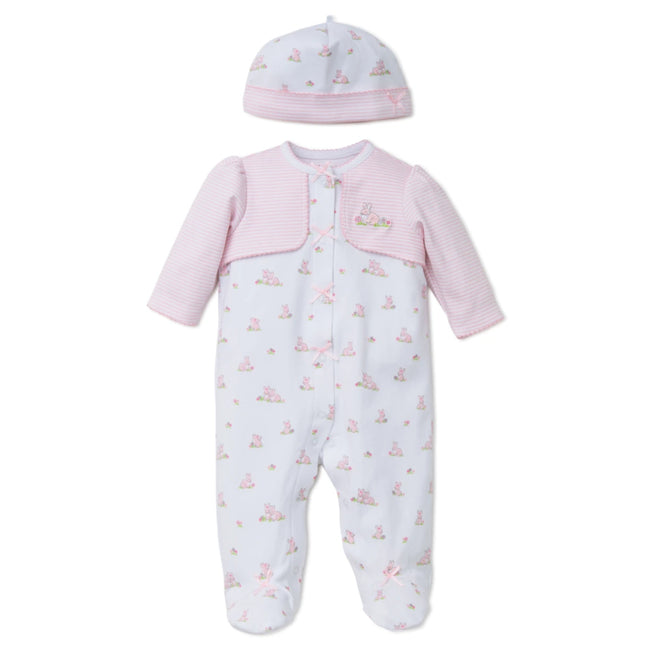 LITTLE ME Baby Girl Pink Stripes and Baby Bunnies Footie with Hat