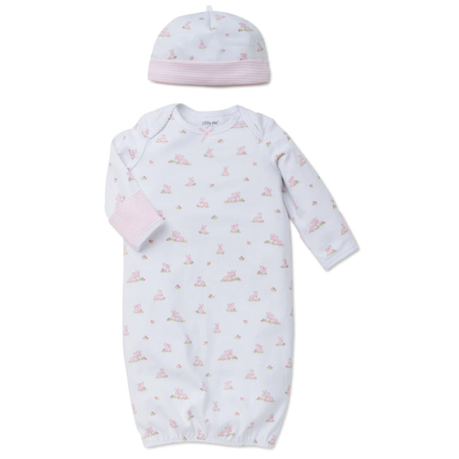 LITTLE ME Baby Girl Pink Baby Bunnies Sleep Sack Gown with Hat