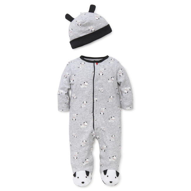 LITTLE ME Baby Boy Grey Dalmatian Footie with Hat