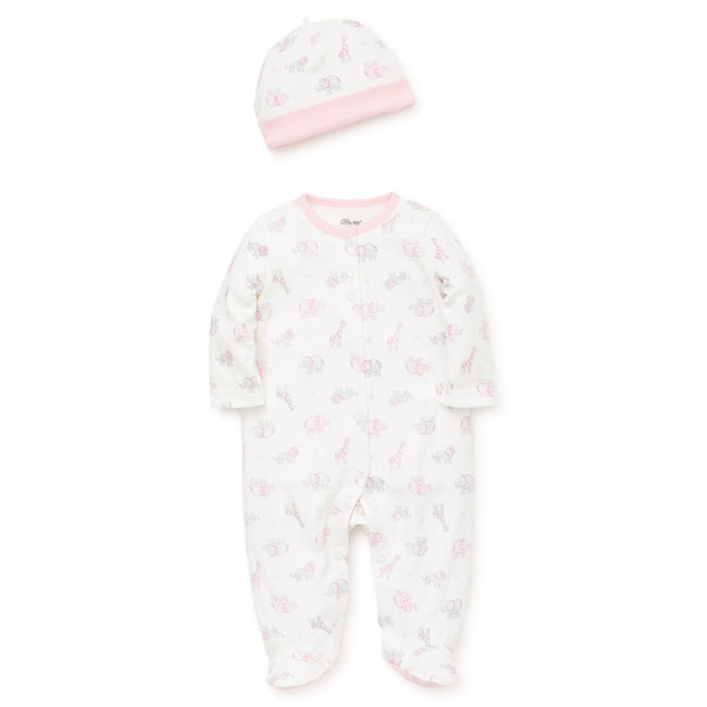 LITTLE ME Baby Girl Pink Safari Scribble Footie with Hat