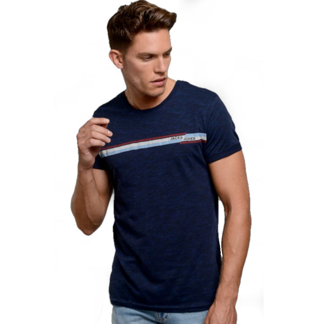 JACK & JONES Rudd Short Sleeve T-Shirt Navy Model