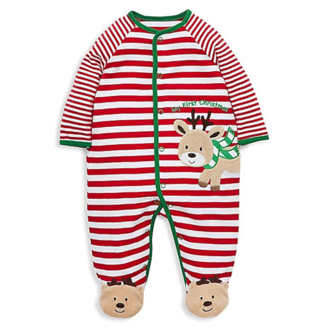 Little Me Candy Stripe Reindeer First Christmas Footed Sleeper