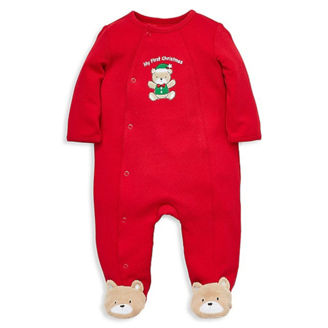 LITTLE ME Baby Girl Red Teddy First Christmas Footed Sleeper