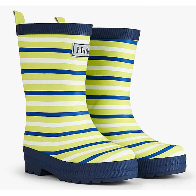 Hatley Kids Little Girl or Boy Lime Stripes Rain Boots