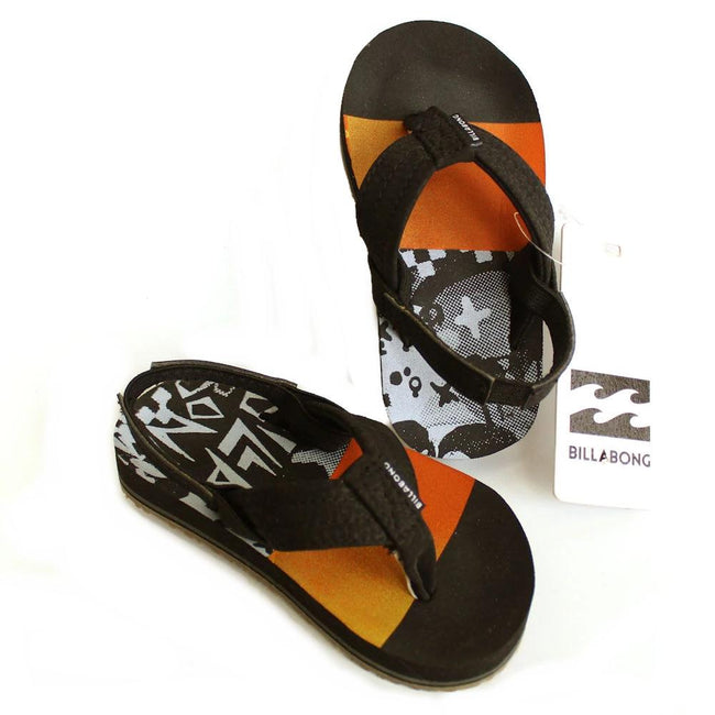 Billabong Kids Toddler Black Orange Flip Flops