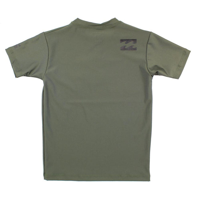 BILLABONG Big Boy Short Sleeve Olive Green Rashguard Shirt