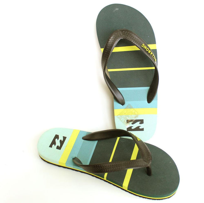 Billabong Kids Green Yellow Flip Flops