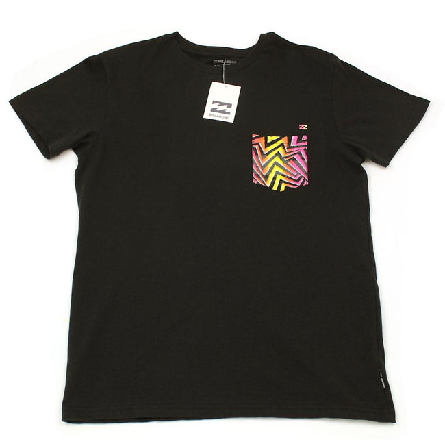 Billabong Kids Boys Black Tee Shirt Bright Pocket