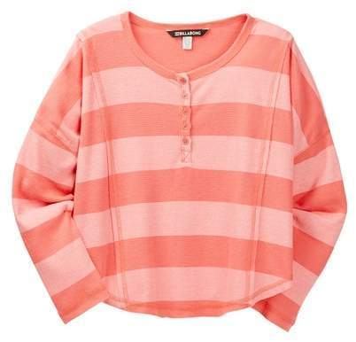 BILLABONG Little Girl Orange Waffle Long Sleeve Tee