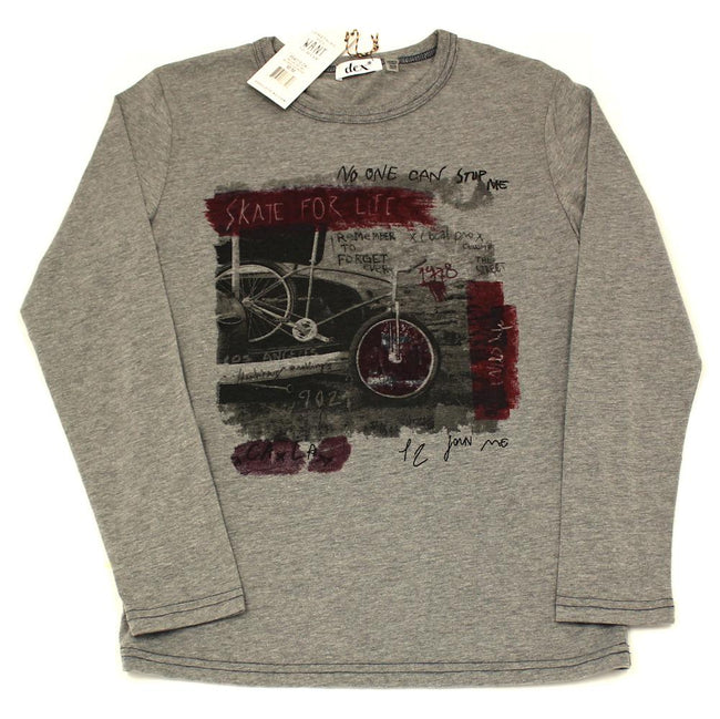 DEX KIDS Big Boy Preteen Boys Long Sleeve Grey T-Shirt
